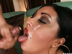 Jaylene Rio gets a nice cum facial on her exotic pretty face.