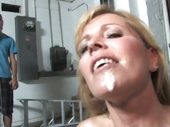 Nicole Moore get the cum of a horny black guy