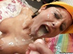 Filthy whore Alison Star receives an awesome explosion of cum on her face