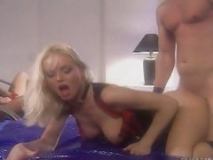 Sylvia Saint getting fucked hard in her wet cunt from behind.