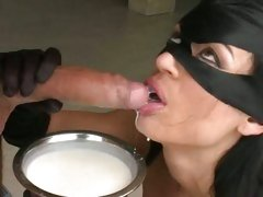 Masked cock sucker Franceska Jaimes deepthroating fatty