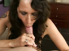 Naughty MILF Lisa Marie gobbles down this juicy dick