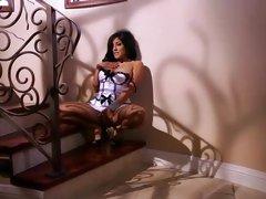 Horny Kiara Mia teases her throbbing clit slit