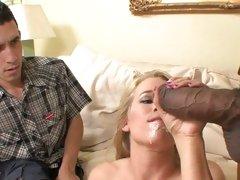 Aiden Aspen taste cum of guy while boyfriend watch
