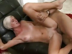 Delicious babe gets her shaven pussy crammed with cock