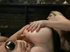 Angela Attison has her ass invaded by Krissy Lynn