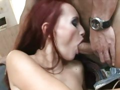 Saucy Claudia Adams loves getting a mouth full off cock