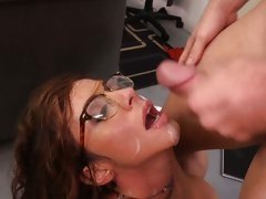 Teacher Ariella Ferrera is facialled after a fuck