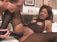 Nasty slut gets her pussy stretched by a massive dildo