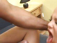 Sharka Blue get the cum of black guy spewed on her face