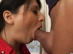 Gagging Alison Star takes a enormous cock deep in her throat