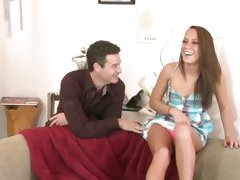 Babysitter Haley Sweet sucks off her horny boss