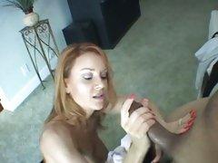 Janet Mason redhead milf stroke off a black dick