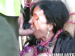 Bound but not gagged, earthmother Jewels mouth-worships a rigid dick