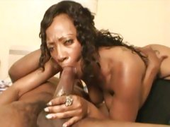 Ebony babe Cherokee D Ass stuffs her mouth with cock