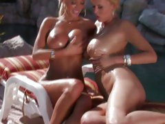 Lichelle and Carly bathing nude outdoors and playing lustilly