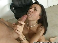 Gina Rome loves the taste of warm sticky jizz sprayed into her hot mouth