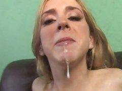 Kelly Wells splooge in mouth with man's cummings