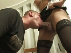 This horny guy gasps for breath on a tranny's prick