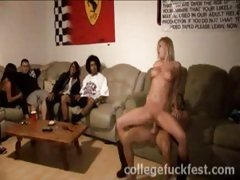 Sexy college slut fucking a drunk hunk in front of a big crowd