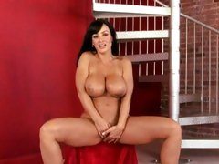 Sizzling Lisa Ann plays with her dripping pantie pot