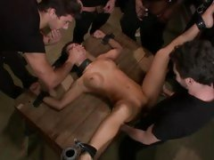 Naughty Asa Akira is tied up & roughly group fucked