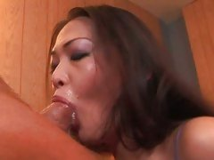 Nyomi Zen licks up the remnants of a cumload