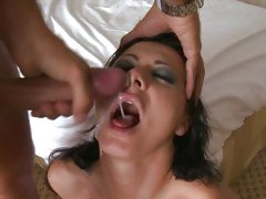 Sizzling Sandra Romain gets splashed in dick cream