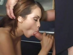 Daisy Dukes takes a stiff cock down her slippery throat