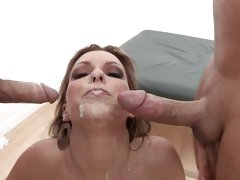 Thirsty Courtney Cummz gets splattered in cock cream