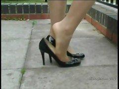 Posh blonde Kathryn fetish for shiny nylons and heels