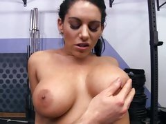 Sexy Bella Reese shows off her monster mammary glands
