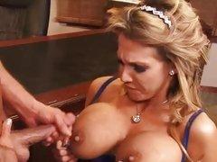 Busty babe Nikki Sexxx gets her tits glazed with cum