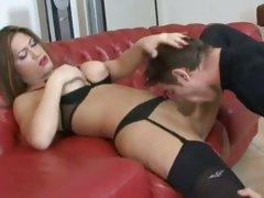 Nasty ladyboy thrusts his cock down his partners throat