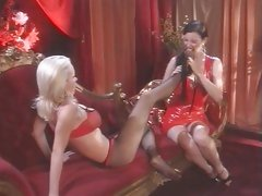 Alluring Anastasia Pierce licks Nikki Benz' feet
