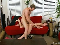 Hawt and lewd Lily carter slathers cock getting ready for a hard shafting on cou