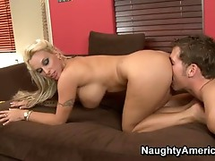 Sexually excited Blonde Momma Holly Halston Enjoys the hard cock dipping in her Mouth