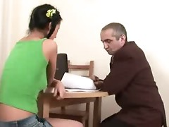 Lewd old tutor tricks cute coed into having sex