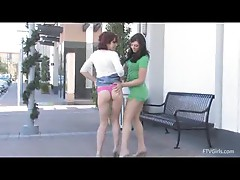 Rita and madline take off pants outside and make out