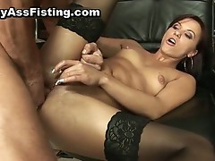 Horny slut gets her gaping asshole