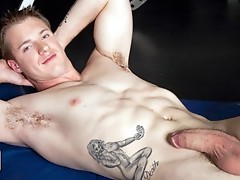 Mark Scalvo has a nice head of dark blond hair, a smooth muscled jock body and a beautiful thick cock.