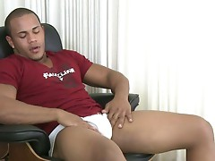 Curtis McCoy jerks his big beautiful black uncut cock, rams it into a Fleshjack and then shoots a thick creamy load all over himself.
