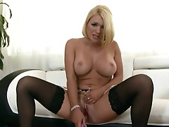 Hot assed hottie Krissy Lynn pleases her warm soaked crack with her fantastic Toy