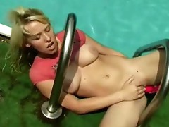 Large titted angel by the pool