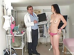 Skinny kinky gyno exam and anal plug