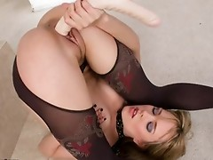 Blue Angel bend her body and drilled with sex tool