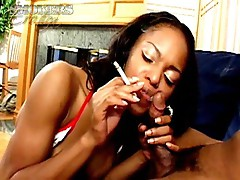 Sinfully swarthy smoker Marie Luv gives oral-job