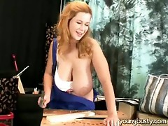Angel gets her tit caught