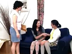 Margo drills her friend in front of the lewd teacher using dildo.