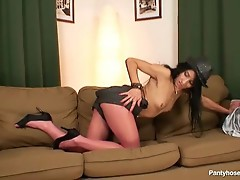 Skinny latina looks hot in pink nylon pantyhose